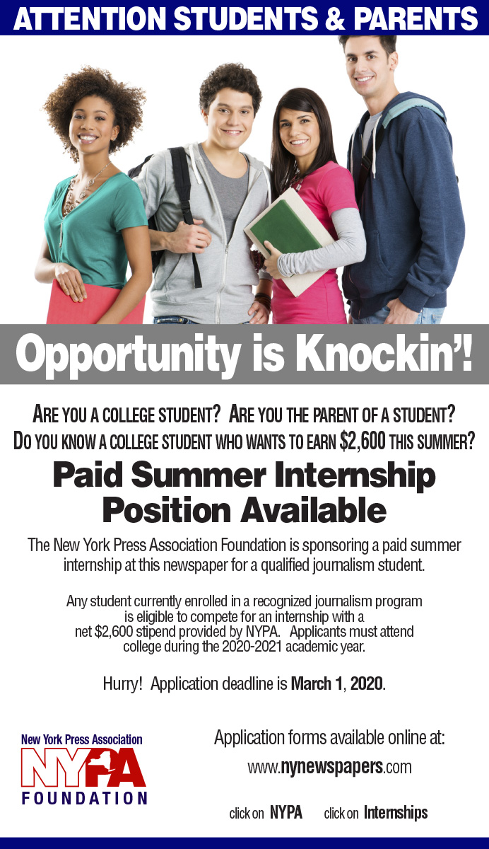 News Internships Summer 2020.Paid Journalism Internships New York Press Association